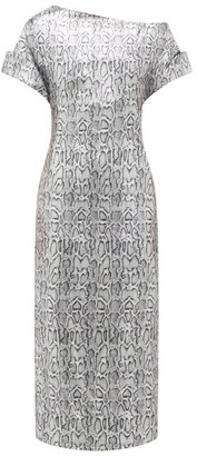 Christopher Kane Asymmetric Snake-print Sequinned Dress - Silver