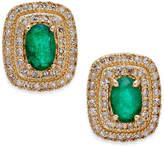 Macy's Emerald (3/4 ct. t.w.) and Diamond (1/3 ct. t.w.) Stud Earrings in 14k Gold