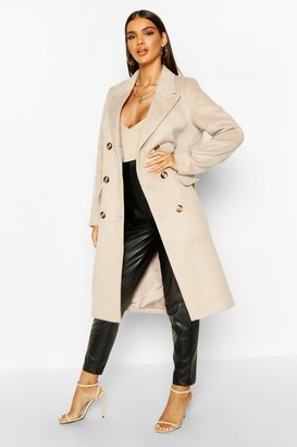 boohoo Brushed Wool Look Double Breasted Coat