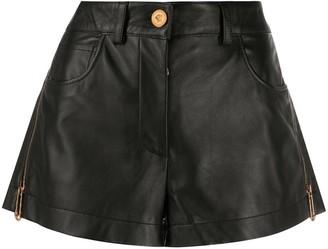 Versace Black Leather Zipped Shorts