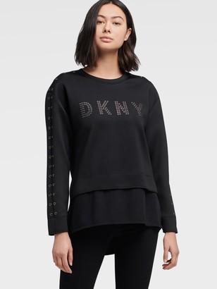 DKNY Logo Crew Neck Sweatshirt With Grommet Detail