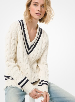 Michael Kors Hand-Knit Cashmere Frayed Tennis Sweater