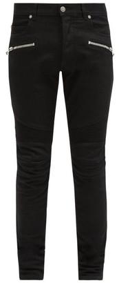 Balmain Ribbed-panel Slim-leg Jeans - Black