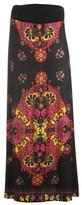 Knit Border Print Maxi Skirt