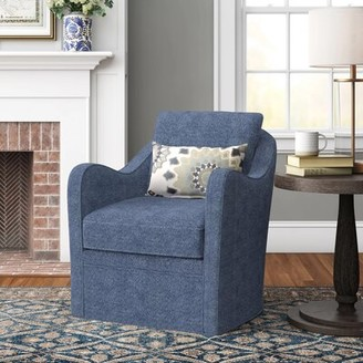 "Three Posts Loftus 29.5"" W Polyester Swivel Armchair Fabric: Navy"