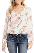 Jessica Simpson Pietra Long Sleeve Tie Front Peasant Blouse