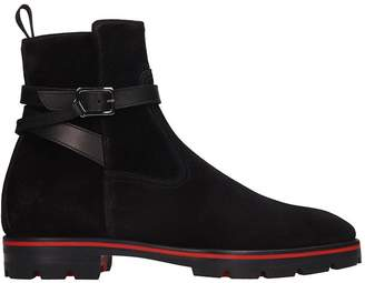 Christian Louboutin Kicko Croc High Heels Ankle Boots In Black Suede