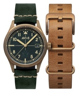 AVI-8 Men's Flyboy Automatic Eagle Squadron Bronze Edition Gift Set with Green Genuine Leather Strap Watch 39mm and Additional Nylon Nato and Leather Nato Straps