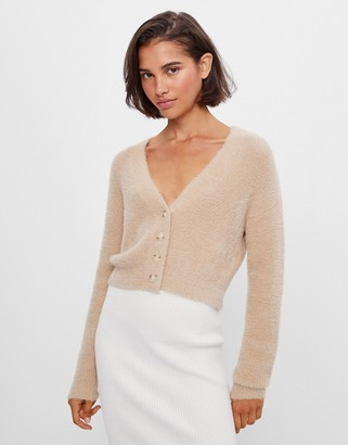 Bershka cropped fluffy cardigan in beige