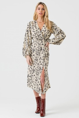 LIENA Cream and Black Floral Wrap Midi Dress with Side Split