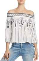 Aqua Embroidered Off-the-Shoulder Top - 100% Exclusive