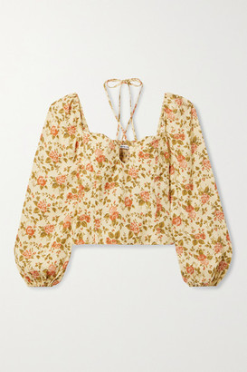 Reformation Net Sustain Milo Shirred Floral-print Crepe Top - Yellow