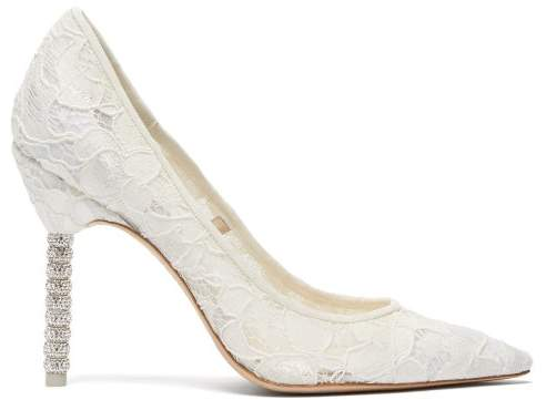 d9262514e98 Coco Crystal Embellished Lace Pumps - Womens - White