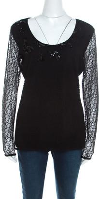 Escada Black Lace Overlay Jersey Crystal Embellished Scoop Neck Erbrou Top M