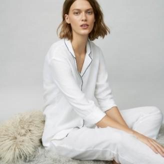The White Company Linen Stitch-Trim Pyjama Set, White, Extra Small
