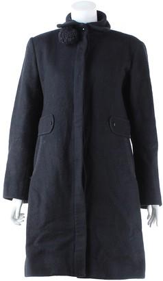 Les Prairies de Paris Black Wool Trench Coat for Women