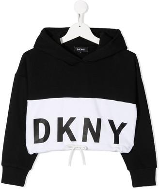 DKNY Logo Colour-Block Hoodie
