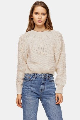 Topshop Womens Knitted Cable Crop Jumper - Oatmeal