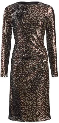 Teri Jon by Rickie Freeman Sequin Leopard Print Sheath Dress
