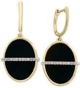 Effy Eclipse by Black Onyx (16 x 12mm) and Diamond (1/10 ct. t.w.) Oval Drop Earrings in 14k Gold