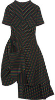J.W.Anderson Draped Striped Cotton-Crepe Dress
