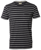 Selected Homme Sall Stripe Crew Neck T-shirt, Dark Navy