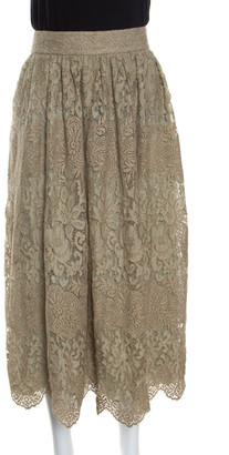 Valentino Pastel Green Metallic Floral Lace Overlay Gathered Waist Midi Skirt M