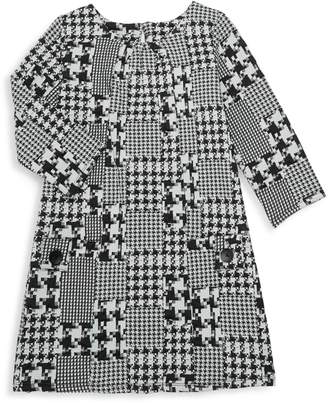 Pippa & Julie Girl's Houndstooth Long-Sleeve Dress
