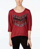 Miss Chievous Juniors' Sequined Chevron Dolman-Sleeve T-Shirt