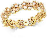 Kate Spade Gold-Tone Imitation Pearl and Crystal Hinged Bangle Bracelet