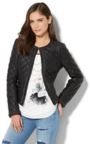 New York & Co. Chain Link-Trim Quilted Faux-Leather Jacket