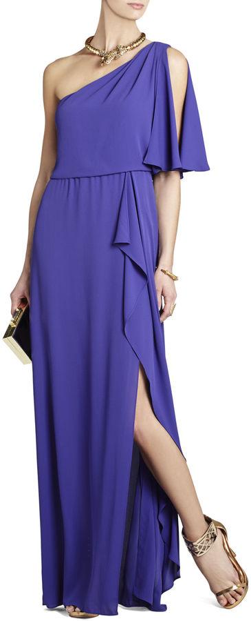 BCBGMAXAZRIA Kendal One-Shoulder Ruffled Evening Gown