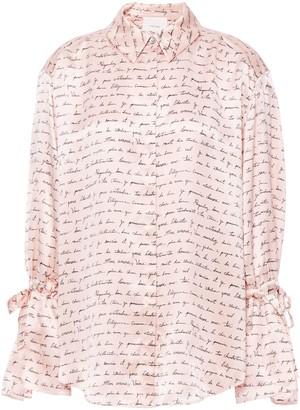 Cinq à Sept Bow-detailed Printed Silk-satin Shirt