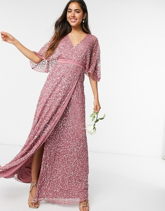 Maya Bridesmaid delicate sequin wrap maxi dress in rose
