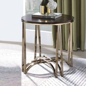 Everly Quinn Shelva Contemporary Round Wood and Metal End Table