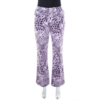 Escada Purple Abstract Print Cotton Flared Trousers M