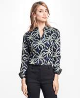 Brooks Brothers Petite Fitted Palm Tree Print Cotton Sateen Shirt