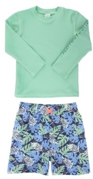 RuggedButts Toddler and Little Boys Long Sleeve Rash Guard Swim Trunk Set