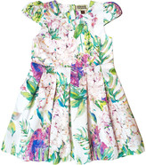 Sophie Catalou Girls' Casual Dresses White/Purple - White & Purple Floral San Remo Pleated A-Line Dress - Infant, Toddler & Girls