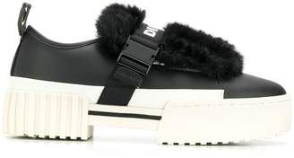 Diesel faux fur trim sneakers