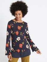 Marks and Spencer Floral Print Slash Neck Long Sleeve Tunic