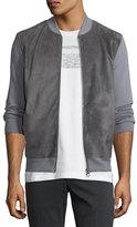 Salvatore Ferragamo Suede-Front Wool Zip-Front Sweater