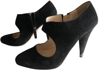 Prada Mary Jane Black Suede Heels
