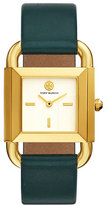 Tory Burch The Phipps Leather Strap Watch, Golden/Green
