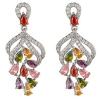 A&M A & M Silver-Tone Multicolor Cluster Earrings