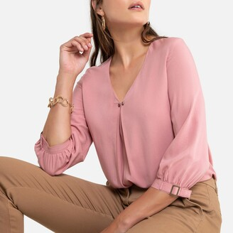 Anne Weyburn V-Neck Blouse with 3/4 Length Sleeves