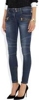 Balmain Moto paneled skinny jeans