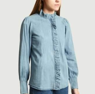 Jolie Jolie - Blue Cotton Domitille Denim Shirt - blue | cotton | xs - Blue/Blue