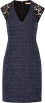 Rebecca Taylor Lace-paneled cotton-blend tweed mini dress