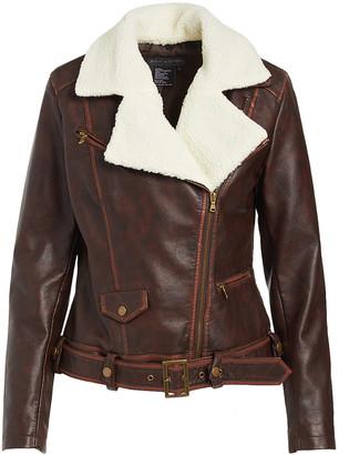 Live A Little Women's Non-Denim Casual Jackets COGNAC - Cognac Brown & White Sherpa Bomber Jacket - Women